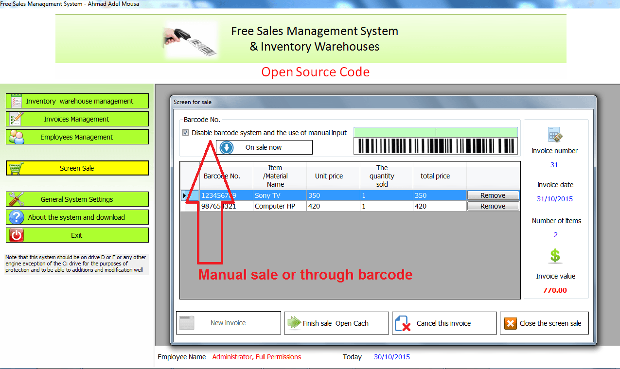 Free source code for point of sale system | Sales program source code and store inventory | Source code system sale points through barcode BarCode open source Code| vb.net sales and inventory | through the language VB.NET 2008 and the database from Access Type scalable to SQLServer