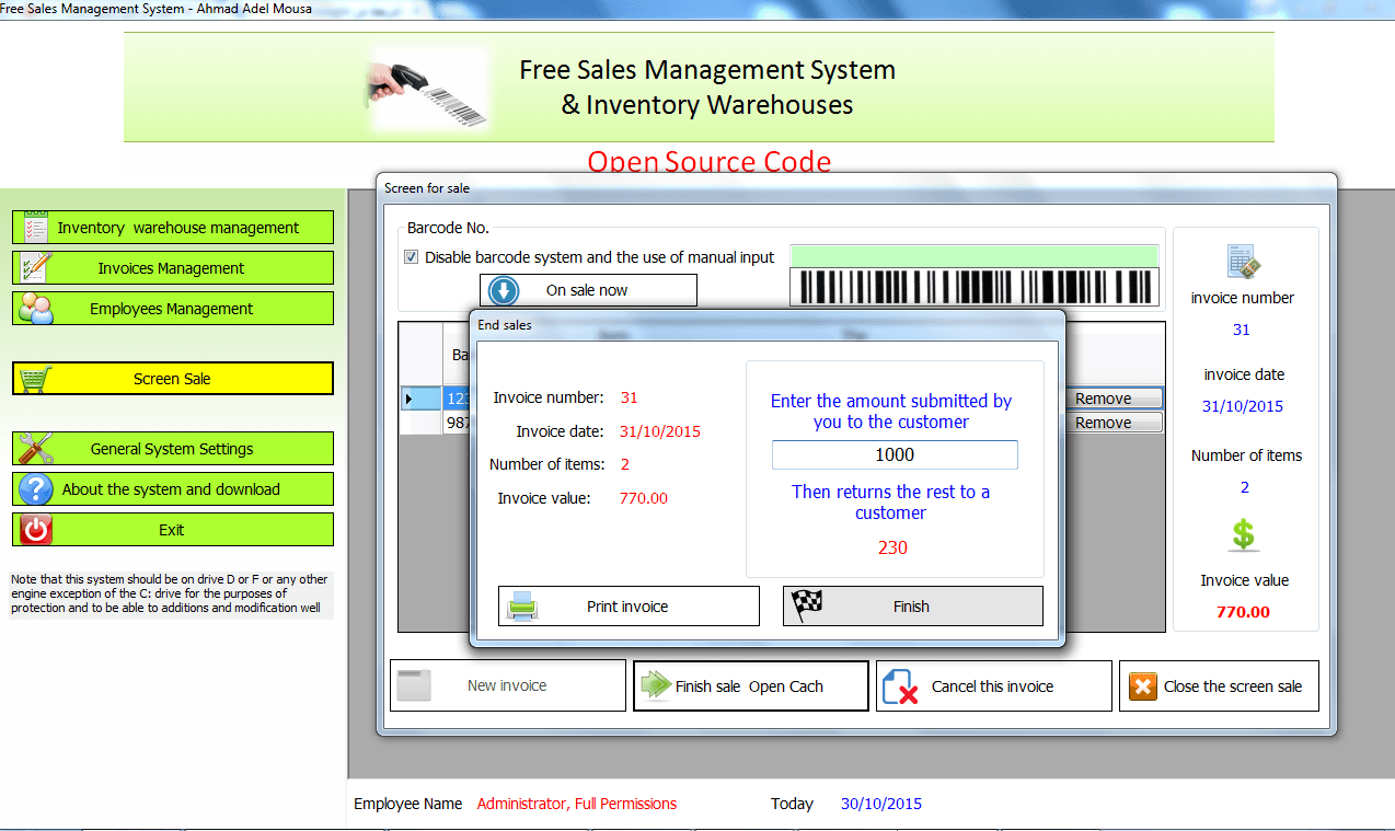Sales and inventory system using barcode reader   Custom